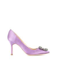 Escarpins en cuir ornés violet clair Manolo Blahnik