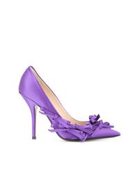 Escarpins en cuir ornés violet clair N°21