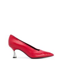 Escarpins en cuir rouges Casadei