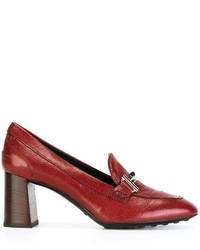 Escarpins en cuir rouges Tod's
