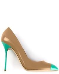 Escarpins en cuir turquoise Sergio Rossi