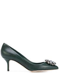 Escarpins en cuir vert foncé Dolce & Gabbana