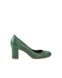 Escarpins en cuir vert foncé Sarah Chofakian