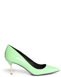 Escarpins en cuir vert menthe
