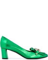 Escarpins en cuir verts Casadei