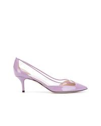 Escarpins en cuir violet clair Pollini