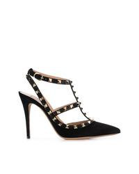 Escarpins en daim à clous noirs Valentino