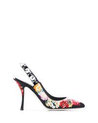 Escarpins en daim à fleurs noirs Dolce & Gabbana