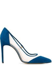 Escarpins en daim bleu canard