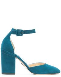 Escarpins en daim bleu canard Paul Andrew
