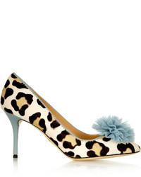 Escarpins en daim imprimés léopard beiges Charlotte Olympia