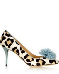 Escarpins en daim imprimés léopard marron clair Charlotte Olympia