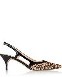 Escarpins en daim imprimés léopard marron clair