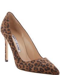 Escarpins en daim imprimés léopard marron