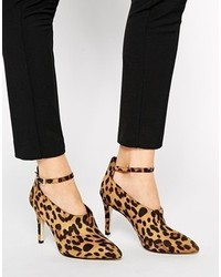 Escarpins en daim imprimés léopard marron Asos
