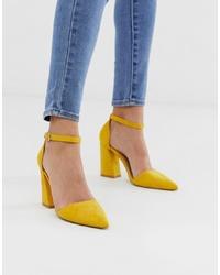 Escarpins en daim jaunes Glamorous