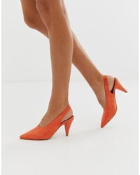 Escarpins en daim orange ASOS DESIGN