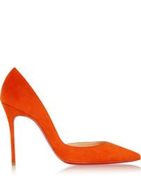 Escarpins en daim orange Christian Louboutin