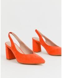 Escarpins en daim orange Glamorous