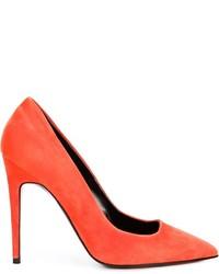 Escarpins en daim orange Pierre Hardy
