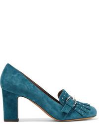 Escarpins en daim ornés bleu canard Tabitha Simmons