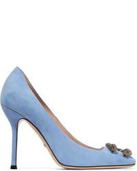 Escarpins en daim ornés bleu clair Gucci
