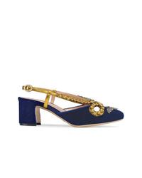 Escarpins en daim ornés bleu marine Gucci