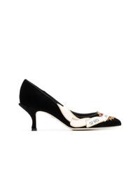Escarpins en daim ornés noirs Dolce & Gabbana