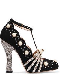 Escarpins en daim ornés noirs Gucci