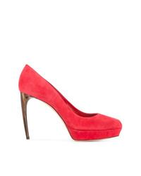 Escarpins en daim rouges Alexander McQueen