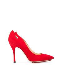 Escarpins en daim rouges Charlotte Olympia