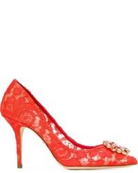 Escarpins en daim rouges Dolce & Gabbana