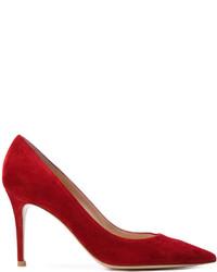 Escarpins en daim rouges Gianvito Rossi