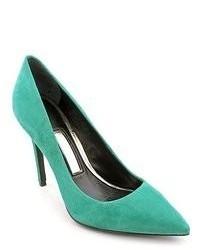 Escarpins en daim turquoise