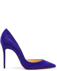 Escarpins en daim violets Christian Louboutin
