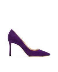 Escarpins en daim violets Jimmy Choo