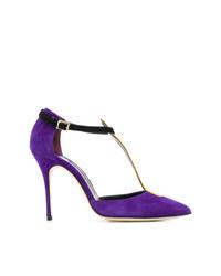 Escarpins en daim violets Manolo Blahnik