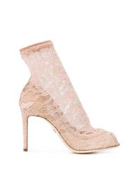 Escarpins en dentelle beiges Dolce & Gabbana