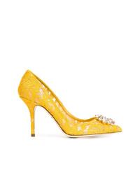 Escarpins en dentelle jaunes Dolce & Gabbana