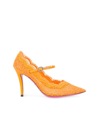 Escarpins en dentelle orange Gucci