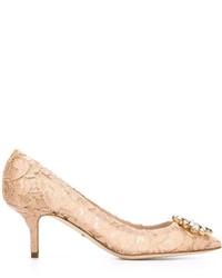 Escarpins en dentelle ornés beiges Dolce & Gabbana