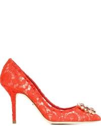 Escarpins en dentelle rouges Dolce & Gabbana