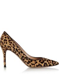 Escarpins en poils de veau imprimés léopard marron clair Gianvito Rossi