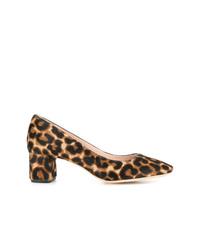 Escarpins en poils de veau imprimés léopard marron clair Loeffler Randall