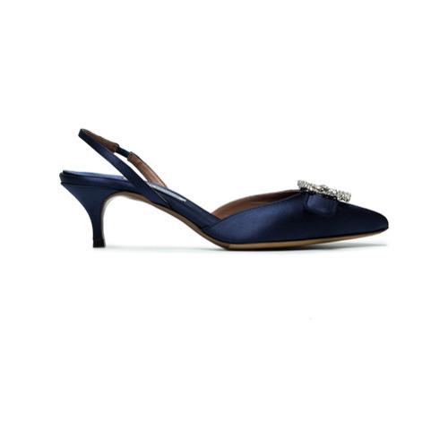 Escarpins en satin ornés bleu marine Tabitha Simmons