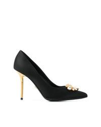 Escarpins en satin ornés noirs Versace