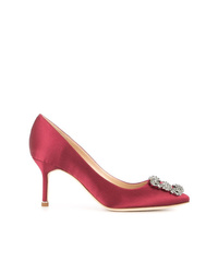 Escarpins en satin ornés rouges Manolo Blahnik
