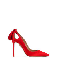 Escarpins en satin rouges Aquazzura