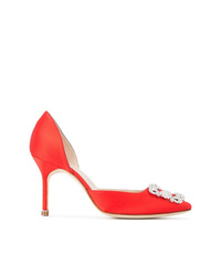 Escarpins en satin rouges Manolo Blahnik