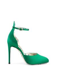 Escarpins en satin verts Gucci